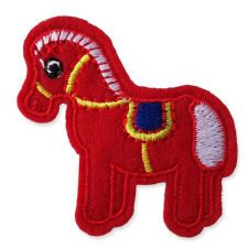 RED PONY MOTIF IRON ON EMBROIDERED PATCH APPLIQUE